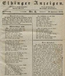 Elbinger Anzeigen, Nr. 5. Mittwoch, 19. Januar 1842