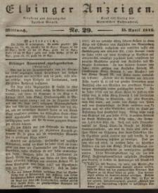 Elbinger Anzeigen, Nr. 29. Mittwoch, 13. April 1842