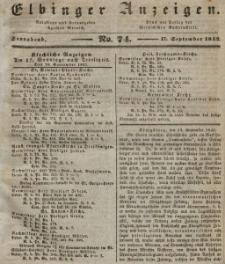 Elbinger Anzeigen, Nr. 74. Sonnabend, 17. September 1842