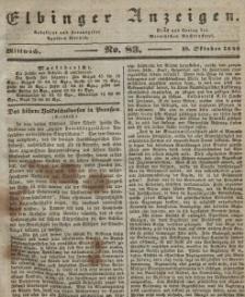 Elbinger Anzeigen, Nr. 83. Mittwoch, 19. Oktober 1842