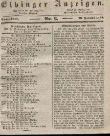 Elbinger Anzeigen, Nr. 6. Sonnabend, 20. Januar 1844