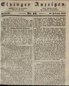 Elbinger Anzeigen, Nr. 17. Mittwoch, 28. Februar 1844