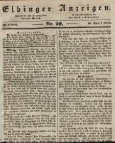 Elbinger Anzeigen, Nr. 29. Mittwoch, 10. April 1844