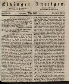 Elbinger Anzeigen, Nr. 59. Mittwoch, 24. Juli 1844