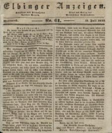 Elbinger Anzeigen, Nr. 61. Mittwoch, 31. Juli 1844