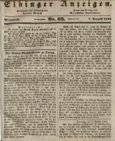 Elbinger Anzeigen, Nr. 63. Mittwoch, 7. August 1844