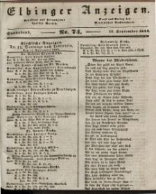Elbinger Anzeigen, Nr. 74. Sonnabend, 14. September 1844
