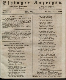 Elbinger Anzeigen, Nr. 75. Mittwoch, 18. September 1844