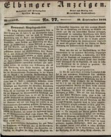 Elbinger Anzeigen, Nr. 77. Mittwoch, 25. September 1844