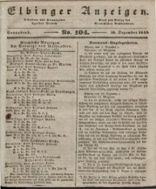 Elbinger Anzeigen, Nr. 104. Sonnabend, 28. Dezember 1844