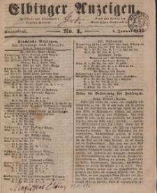 Elbinger Anzeigen, Nr. 1. Sonnabend, 4. Januar 1845