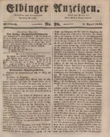 Elbinger Anzeigen, Nr. 28. Mittwoch, 9. April 1845
