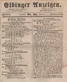 Elbinger Anzeigen, Nr. 34. Mittwoch, 30. April 1845