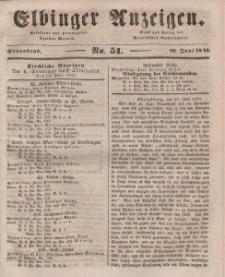 Elbinger Anzeigen, Nr. 51. Sonnabend, 28. Juni 1845