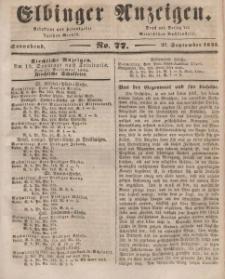 Elbinger Anzeigen, Nr. 77. Sonnabend, 27. September 1845