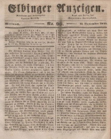 Elbinger Anzeigen, Nr. 90. Mittwoch, 12. November 1845
