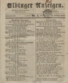 Elbinger Anzeigen, Nr. 1. Sonnabend, 3. Januar 1846