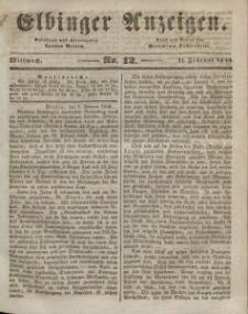 Elbinger Anzeigen, Nr. 12. Mittwoch, 11. Februar 1846