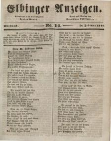 Elbinger Anzeigen, Nr. 14. Mittwoch, 18. Februar 1846