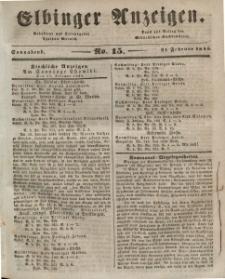 Elbinger Anzeigen, Nr. 15. Sonnabend, 21. Februar 1846