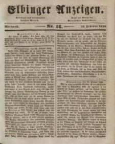 Elbinger Anzeigen, Nr. 16. Mittwoch, 25. Februar 1846