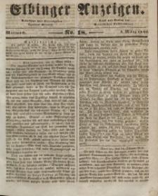 Elbinger Anzeigen, Nr. 18. Mittwoch, 4. März 1846