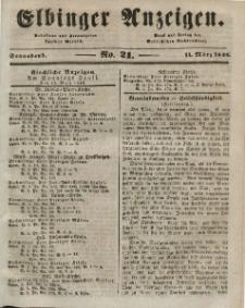 Elbinger Anzeigen, Nr. 21. Sonnabend, 14. März 1846