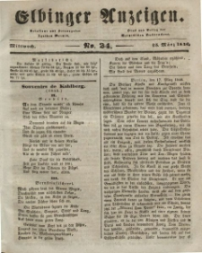Elbinger Anzeigen, Nr. 24. Mittwoch, 25. März 1846
