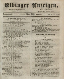 Elbinger Anzeigen, Nr. 25. Sonnabend, 28. März 1846