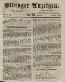 Elbinger Anzeigen, Nr. 26. Mittwoch, 1. April 1846