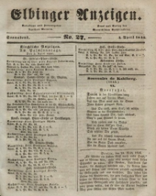 Elbinger Anzeigen, Nr. 27. Sonnabend, 4. April 1846