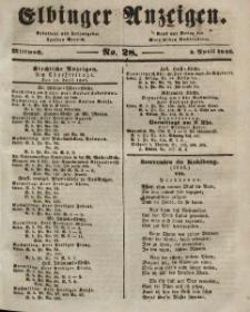 Elbinger Anzeigen, Nr. 28. Mittwoch, 8. April 1846