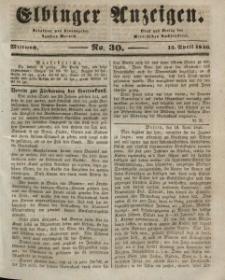 Elbinger Anzeigen, Nr. 30. Mittwoch, 15. April 1846