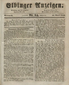 Elbinger Anzeigen, Nr. 34. Mittwoch, 29. April 1846