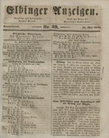 Elbinger Anzeigen, Nr. 39. Sonnabend, 16. Mai 1846