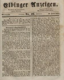 Elbinger Anzeigen, Nr. 46. Mittwoch, 10. Juni 1846