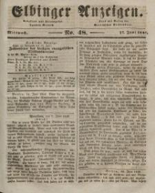 Elbinger Anzeigen, Nr. 48. Mittwoch, 17. Juni 1846