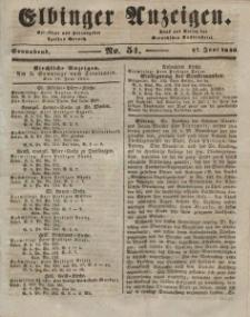 Elbinger Anzeigen, Nr. 51. Sonnabend, 27. Juni 1846
