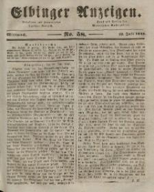 Elbinger Anzeigen, Nr. 58. Mittwoch, 22. Juli 1846