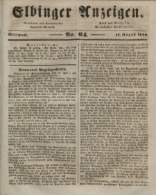 Elbinger Anzeigen, Nr. 64. Mittwoch, 12. August 1846