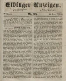 Elbinger Anzeigen, Nr. 68. Mittwoch, 26. August 1846