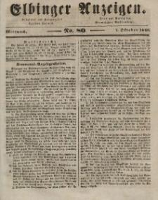 Elbinger Anzeigen, Nr. 80. Mittwoch, 7. Oktober 1846