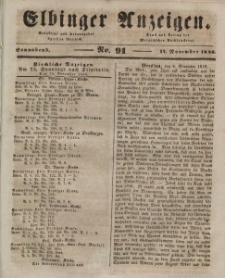 Elbinger Anzeigen, Nr. 91. Sonnabend, 14. November 1846