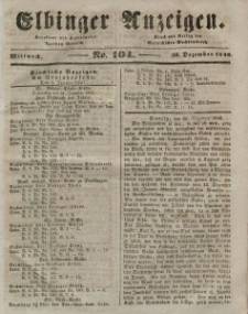 Elbinger Anzeigen, Nr. 104. Mittwoch, 30. Dezember 1846