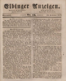 Elbinger Anzeigen, Nr. 16. Mittwoch, 24. Februar 1847