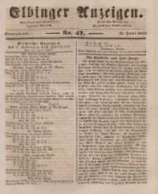 Elbinger Anzeigen, Nr. 47. Sonnabend, 12. Juni 1847