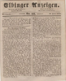 Elbinger Anzeigen, Nr. 52. Mittwoch, 30. Juni 1847