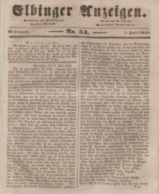 Elbinger Anzeigen, Nr. 54. Mittwoch, 7. Juli 1847