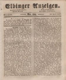 Elbinger Anzeigen, Nr. 58. Mittwoch, 21. Juli 1847