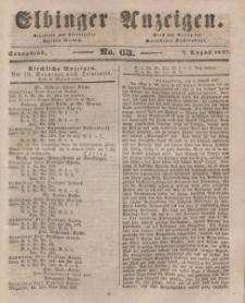 Elbinger Anzeigen, Nr. 63. Sonnabend, 7. August 1847